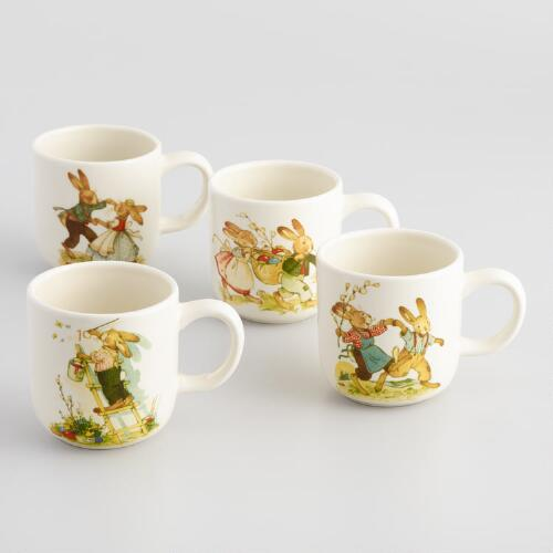 Nestler Vintage-Style Bunny Mugs, Set of 4