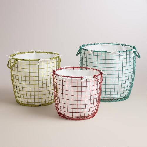 Coral, Green and Blue Wire Round Kenna Baskets