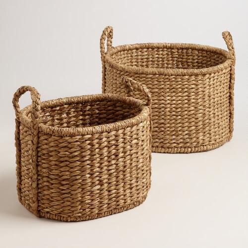 Natural Water Hyacinth Oval Ava Baskets