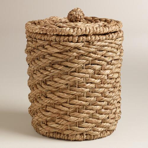 Natural Water Hyacinth Lidded Round Ava Basket