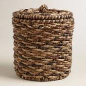 Multicolor Water Hyacinth Lidded Round Ava Basket