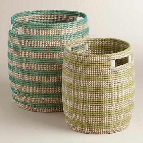 Green and Blue Sea Grass Round Emma Baskets