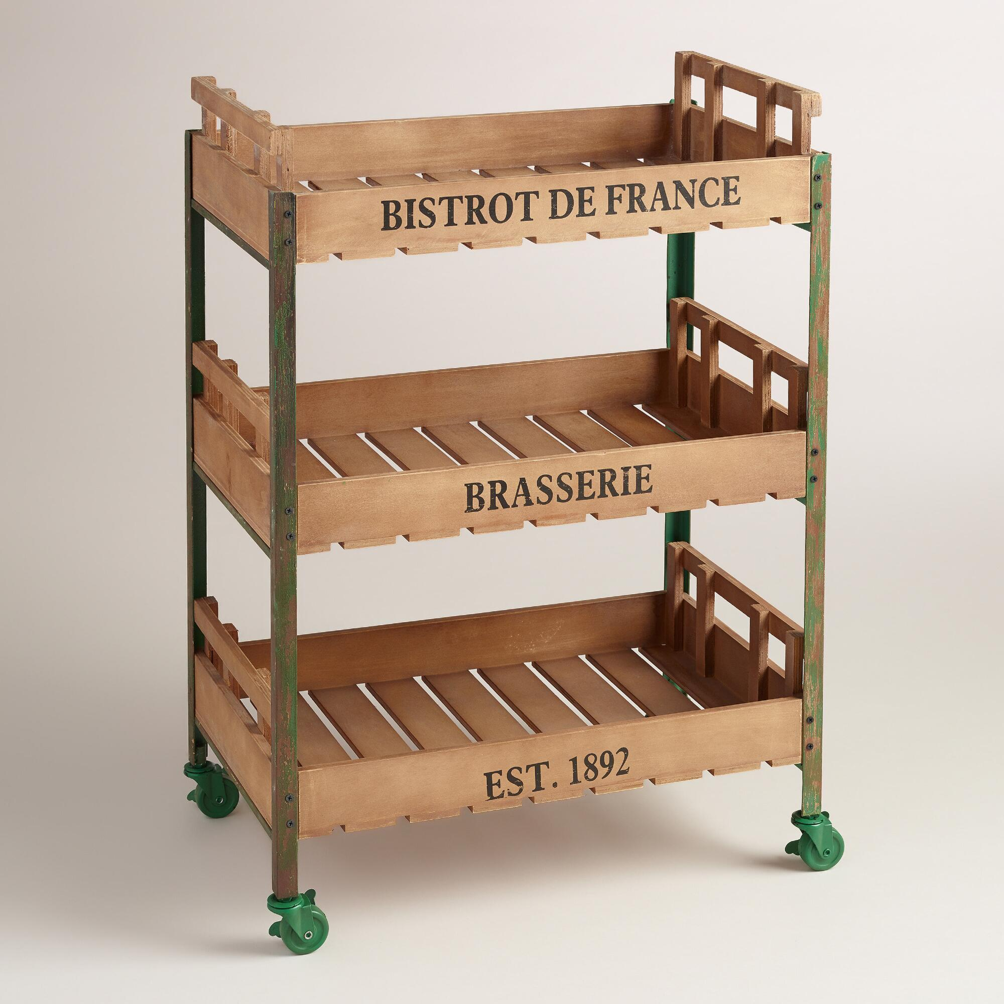 Green Metal and Wood Chantel Rolling Brasserie Cart World Market #6E452C 2000x2000