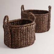 Espresso Water Hyacinth Oval Ava Baskets