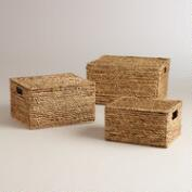 Natural Water Hyacinth Lidded Janina Utility Baskets