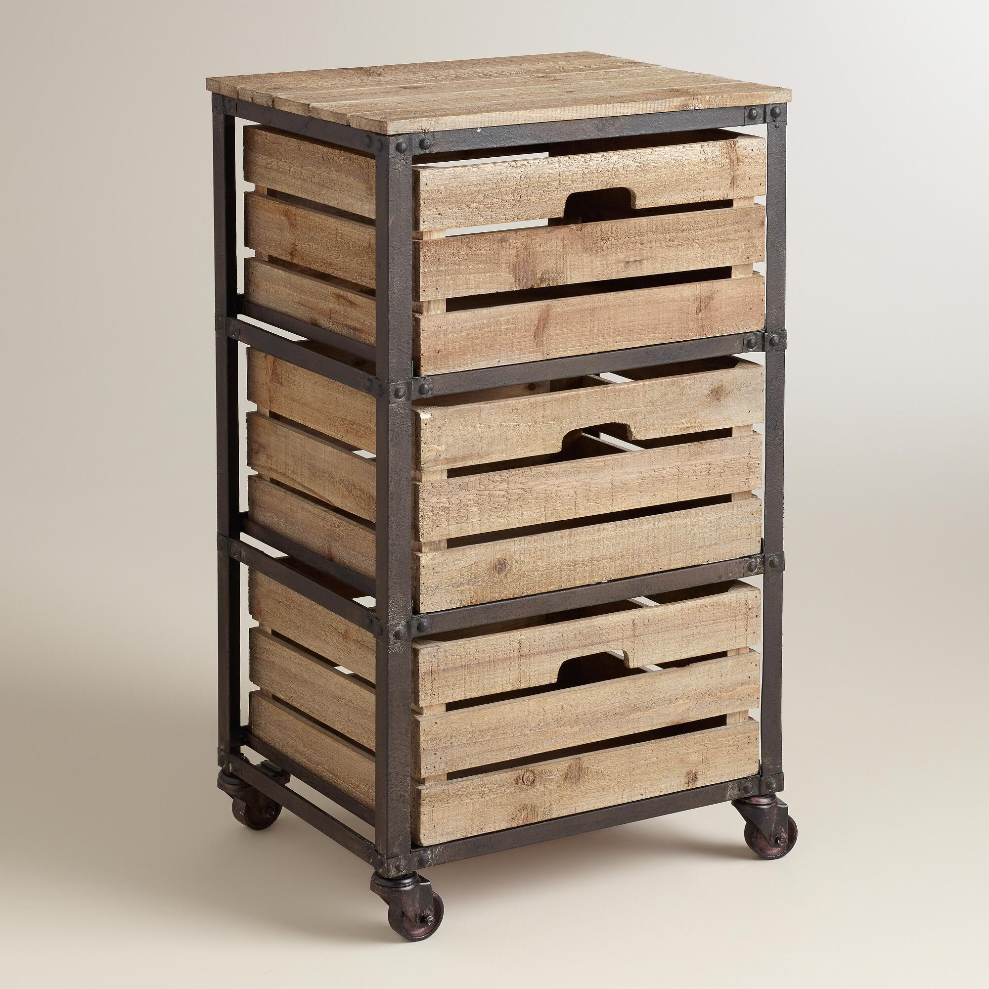 Metal And Wood 3 Drawer Josef Rolling Cart World Market