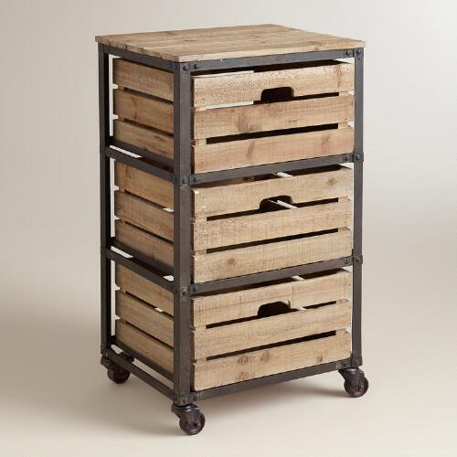 Metal and Wood 3-Drawer Josef Rolling Cart