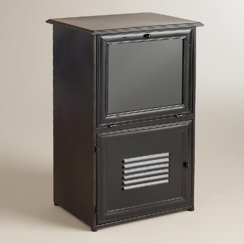 Espresso Metal Brooke Newsstand Storage
