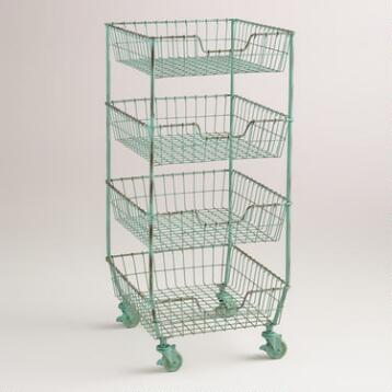 Wire 4-Basket Jamison Rolling Cart