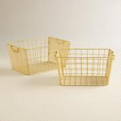 Yellow Metal Jamison Storage Baskets