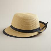 Natural Bucket Hat with Black Piping