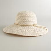 Ivory Crochet Sunhat with Jute Tie