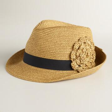 Natural Fedora with Flower