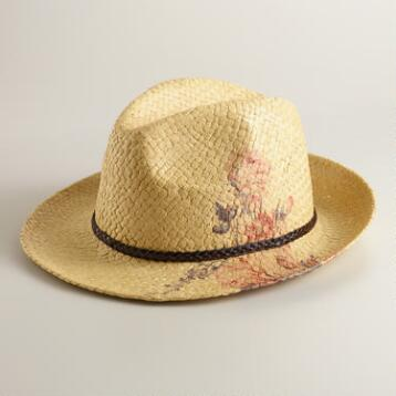 Natural Cowboy Hat with Flowers