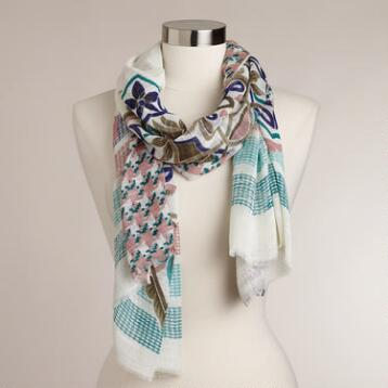 Mint and Blue Medallion Scarf