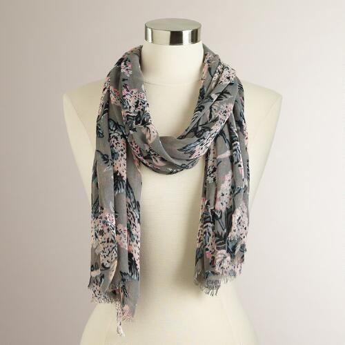 Taupe and Rose Floral Scarf