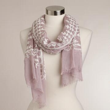 Blush and Ivory Embroidered Scarf