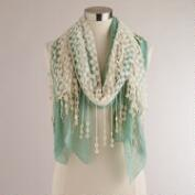 Mint Mesh Crochet Scarf with Tassels