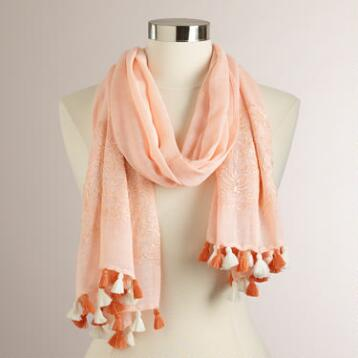 Peach Embroidered Scarf with Tassels