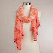 Coral Brushed Scarf with Tassels
