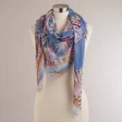 Oversized Blue Feather Frayed Scarf