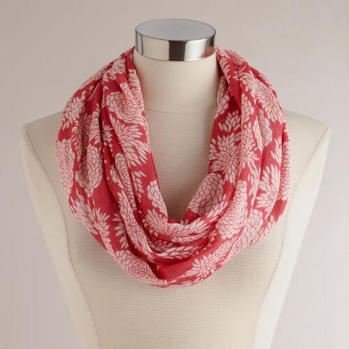 Coral Hydrangea Infinity Scarf