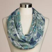 Blue Floral  Infinity Scarf