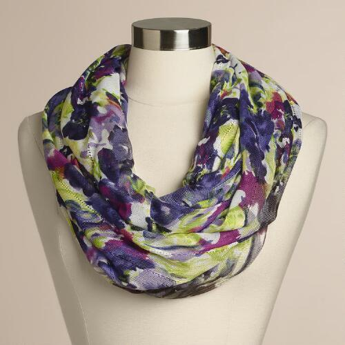 Purple Floral Infinity  Scarf
