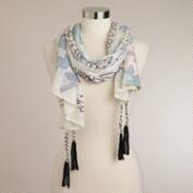 Ivory and Coral Embroidered Scarf with Tassels