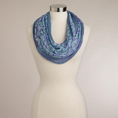 Blue and Turquoise Mosaic Tile Infinity Scarf