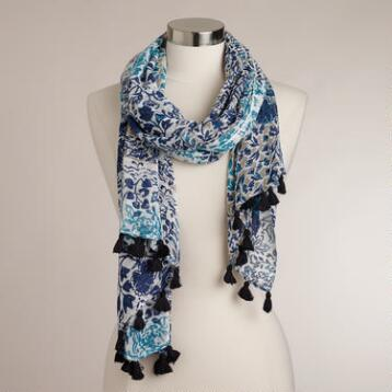 Blue and Turquoise Floral Patch Scarf