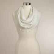 Ivory Frayed Infinity Scarf With Lurex
