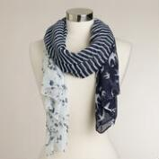 Blue Stripe and Bird Scarf