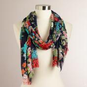 Blue and Green Floral Frayed Scarf