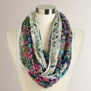 Blue Floral Crochet Infinity Scarf