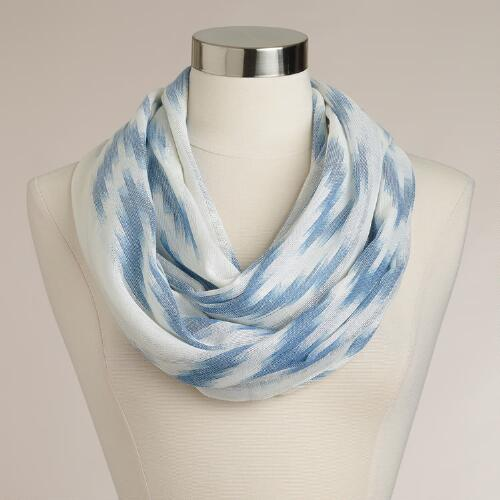 Blue Ikat Infinity Scarf With Lurex