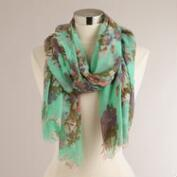 Mint Floral Frayed Edge Scarf