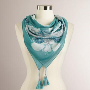 Mint Mosaic and Tassel Square Scarf