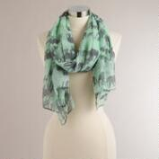 Mint Elephants Square Scarf