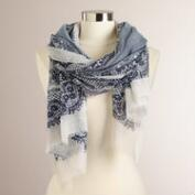 Blue Lace Frayed Scarf