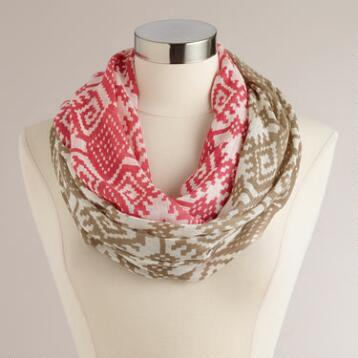 Coral and Taupe Tribal Infinity Scarf