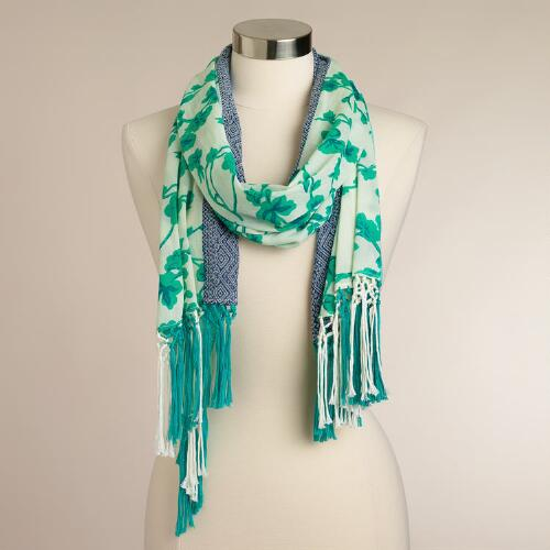 Green Floral Fringed Scarf with Tribal Border