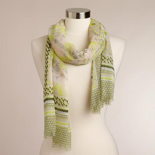 Lime and Beige Geometric Scarf