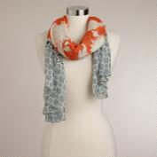 Rust and Navy Geometric Border Scarf
