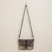 Brown and Pink Carpet Crossbody Bag
