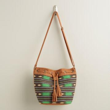 Small Green Tribal Bucket Bag