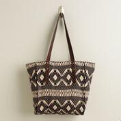Black and Beige Woven Tote