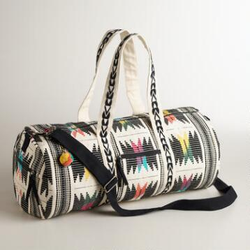 Black and Ivory Tribal Weekender Bag