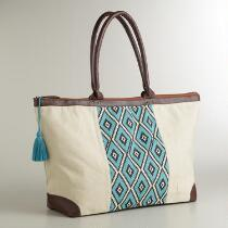 Blue Geometric Weekend Tote