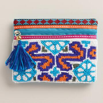 Blue Tribal Beaded Pouch Wallet